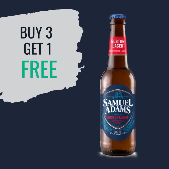 Buy 3 Sam Adams Boston Lager and get 1 free