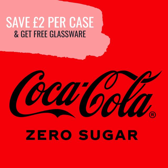 Coca-Cola Zero Sugar - Save £2 per Case & get free Glassware